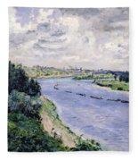Barges On The Seine Fleece Blanket