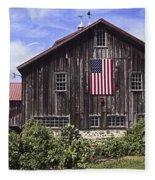 Barn And American Flag Fleece Blanket