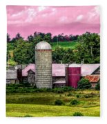 Barn And Silo With Infrared Touch Of Pink Effect Fleece Blanket