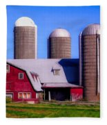 Barn And Silos Hawaiian Chapel Effect Fleece Blanket