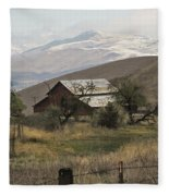 Barn And Snow Fleece Blanket