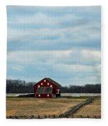Barn And Split Rail Fence Fleece Blanket