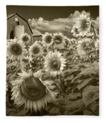 Barn And Sunflowers In Sepia Tone Fleece Blanket