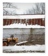 Barn And Tractor Fleece Blanket