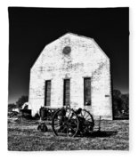 Barn And Tractor In Black And White Fleece Blanket