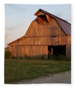 Barn At Early Dawn Fleece Blanket