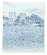 Barn In Blue Fleece Blanket
