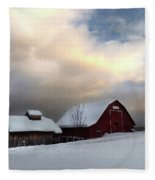 Barn In Solitude Fleece Blanket