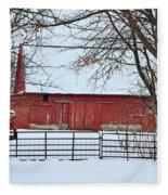 Barn In The Winter Fleece Blanket