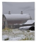 Barn In Winter Fleece Blanket