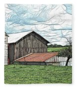 Barn Landscape Colored Pencil Chicken Scratch Effect Fleece Blanket