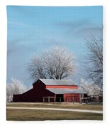 Barn On Frosty Morn Fleece Blanket
