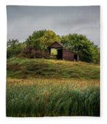 Barn On Hill Fleece Blanket