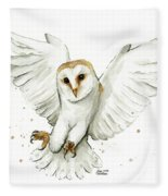Barn Owl Flying Watercolor Fleece Blanket by Olga Shvartsur