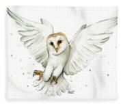 Barn Owl Flying Watercolor Fleece Blanket