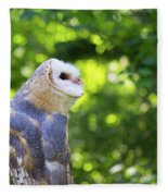 Barn Owl Looking Skyward Fleece Blanket