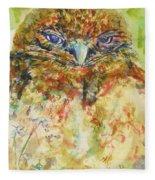 Barn Owl Thinking Fleece Blanket