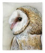 Barn Owl Watercolor Fleece Blanket