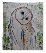 Barn Own Impressionistic Painting Fleece Blanket