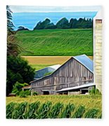 Barn Silo And Crops In Nys Expressionistic Effect Fleece Blanket