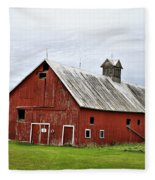 Barn With A Cross Fleece Blanket