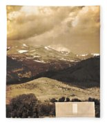 Barn With A Rocky Mountain View In Sepia Fleece Blanket