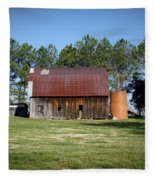 Barn With Tree In Silo Fleece Blanket