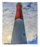 Barnegat Lighthouse In The Clouds Fleece Blanket