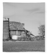 Barn's Last Season Bw  Fleece Blanket
