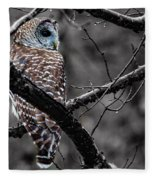 Barred Owl Hungry  Fleece Blanket