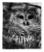 Barred Owl In Black And White Fleece Blanket