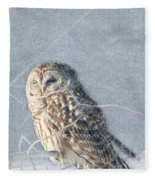 Barred Owl In The Snowstorm Fleece Blanket