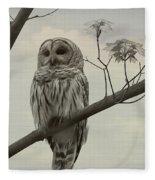 Barred Owl On A Tree Fleece Blanket