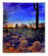 Barrel Cacti Ambling Along Fleece Blanket