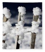 Barriere En Bois Recouverte De Neige Les Contamines Montjoie Haute Savoie Fleece Blanket