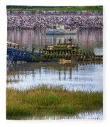 Barry Island Wrecks 3 Fleece Blanket