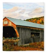 Bartonsville Covered Bridge Fleece Blanket
