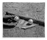 Baseball Game In Black And White Fleece Blanket