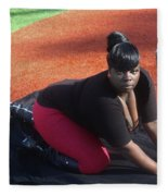 Baseball Girl 3 Fleece Blanket