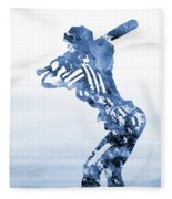 Baseball Girl-blue Fleece Blanket