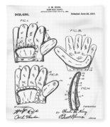 Baseball Glove Patent 1910 Fleece Blanket