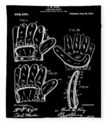 Baseball Glove Patent 1910 In Black Fleece Blanket