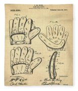 Baseball Glove Patent 1910 Sepia Fleece Blanket