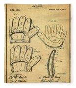Baseball Glove Patent 1910 Sepia With Border Fleece Blanket
