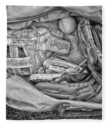 Baseball Gloves Bw Fleece Blanket