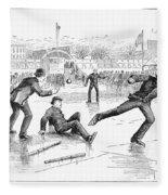 Baseball On Ice, 1884 Fleece Blanket