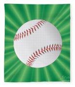 Baseball Over Green Fleece Blanket
