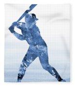 Baseball Player-blue Fleece Blanket