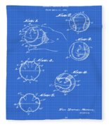 Baseball Training Device Patent 1961 Blueprint Fleece Blanket