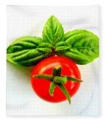 Basil And Cherry Tomato Fleece Blanket